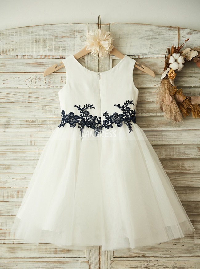 White Flower Girl Dresses,Knee Length Flower Girl Dress,11812