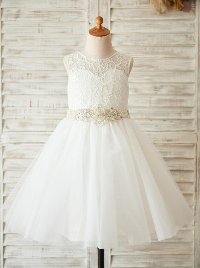 White Flower Girl Dresses,Princess Flower Girl Dress,11819