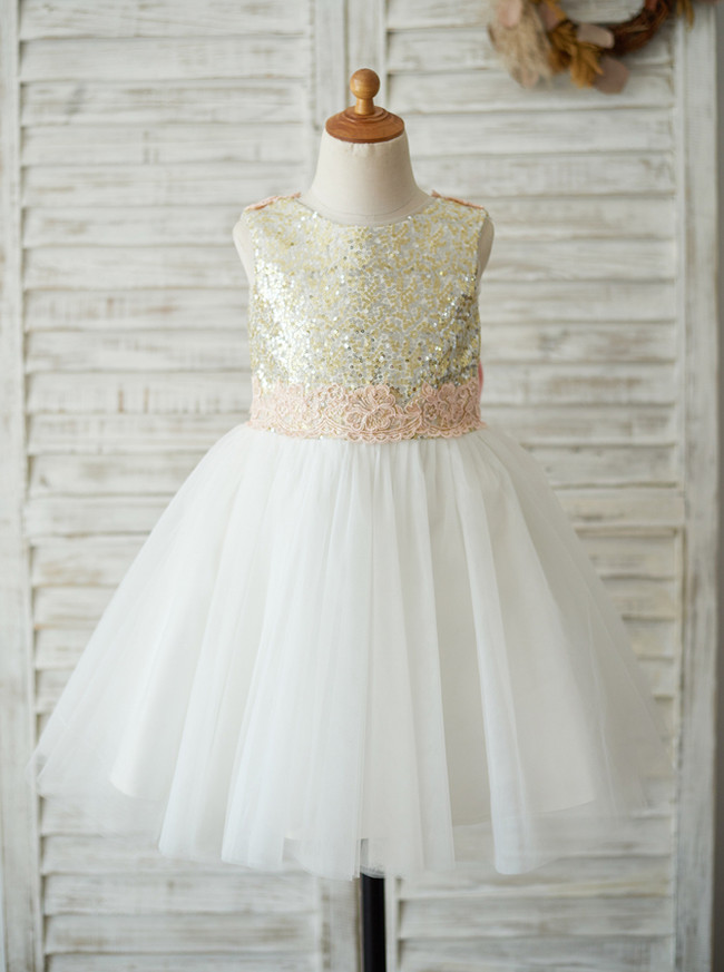 Adorable Flower Girl Dresses,Sequined Girl Party Dress,11823