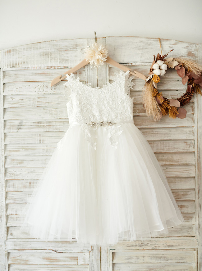 White Flower Girl Dresses,Adorable Flower Girl Dress,11833