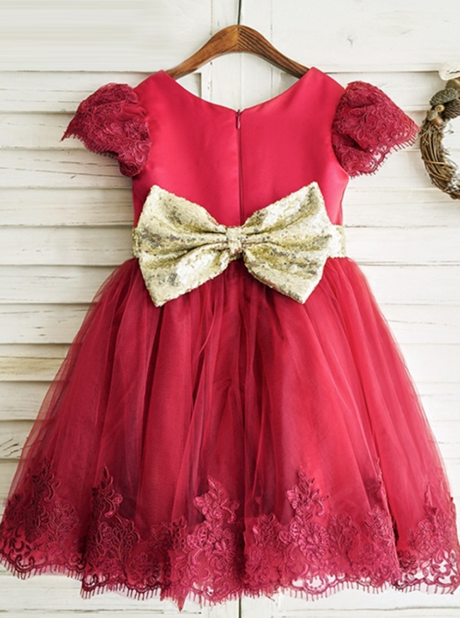 Red Flower Girl Dress with Short Sleeves,Adorable Girl Party Dress,11834