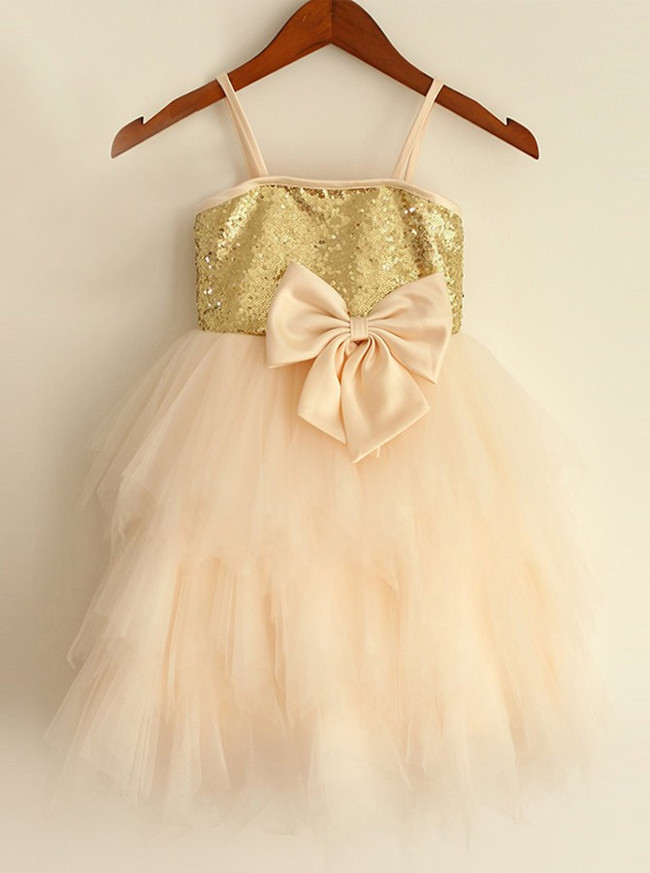 Champagne Girl Party Dress with Straps,Ruffled Tulle Flower Girl Dress,11836
