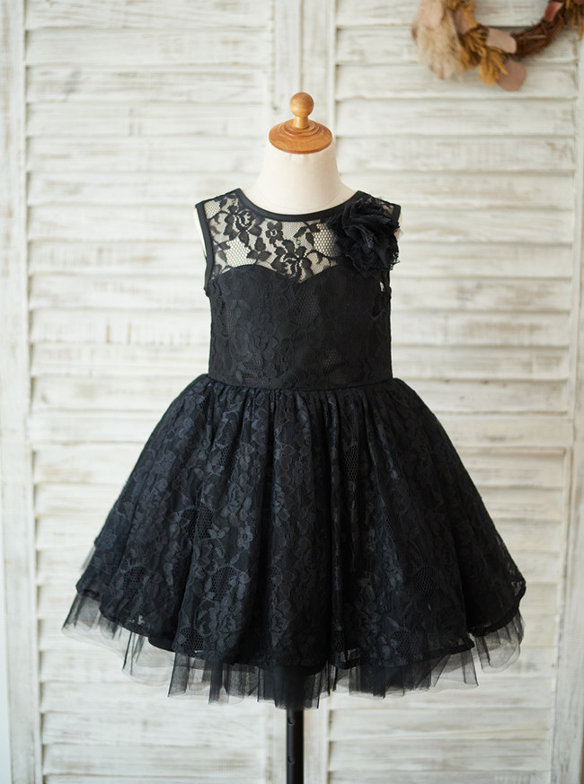 Black Girl Party Dresses,Lace Flower Girl Dress,11839