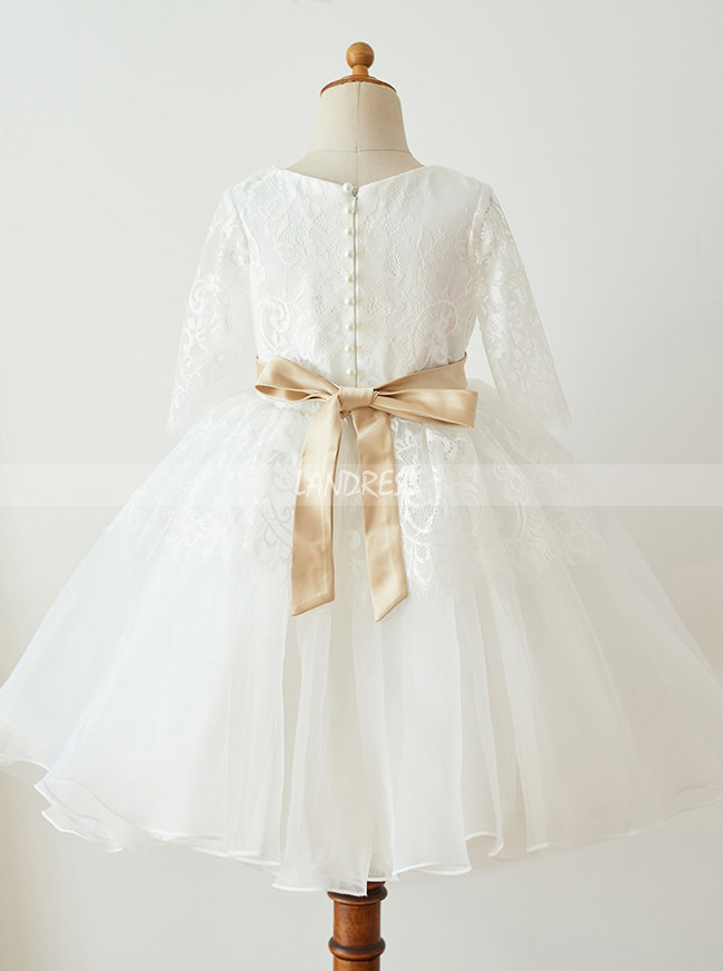 White Flower Girl Dress with Sleeves,Princess Flower Girl Dress,11840