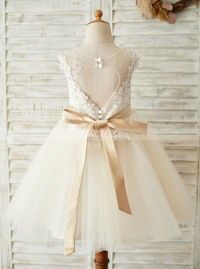 Champagne Flower Girl Dresses,Princess Flower Girl Dress,11841