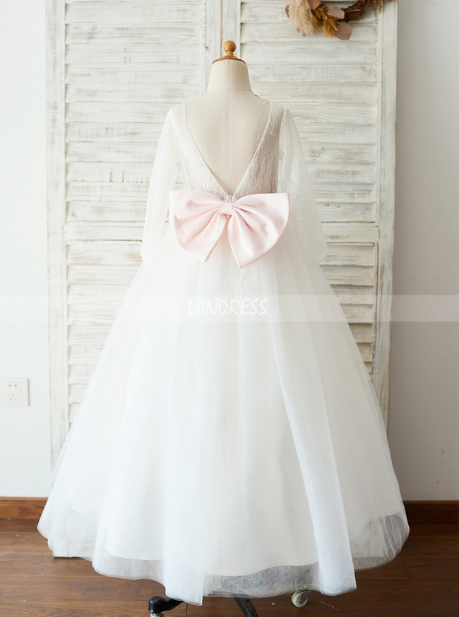 Princess Flower Girl Dress with Sleeves,First Communion Dress,11842