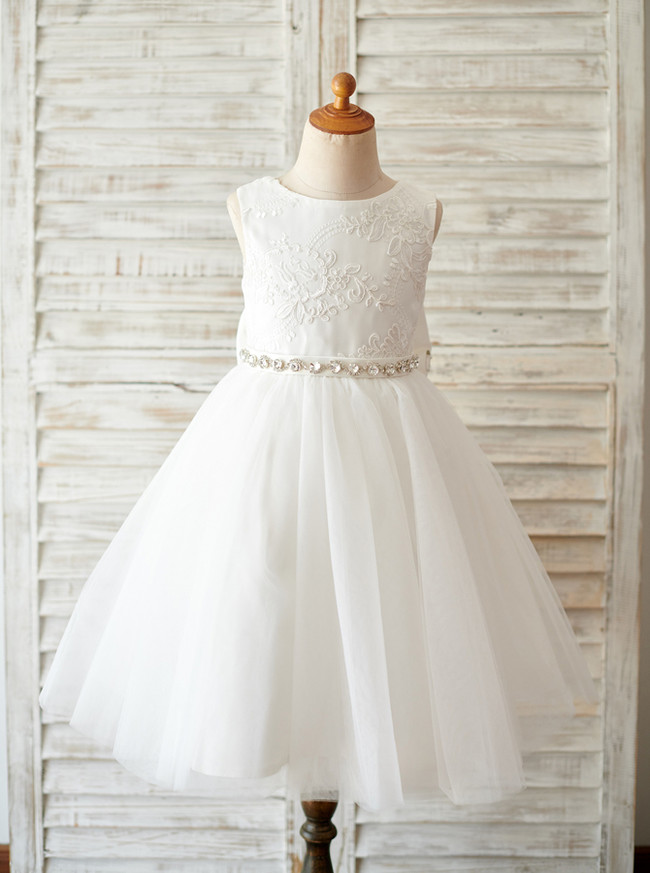 A-line Flower Girl Dresses,Tulle Tea Length Flower Girl Dress,11843