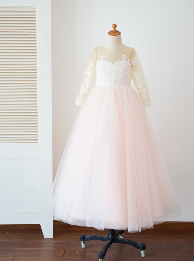 Pink Ball Gown Flower Girl Dresses,Girl Pageant Dresses with Sleeves,11844