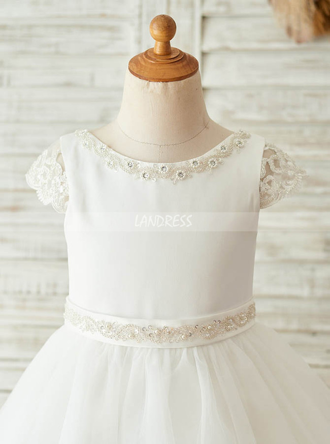 Princess Flower Girl Dress with Sleeves,Simple Flower Girl Dress,11845