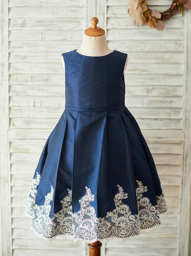 Dark Navy Flower Girl Dress,Tea Length Flower Girl Dress,11846