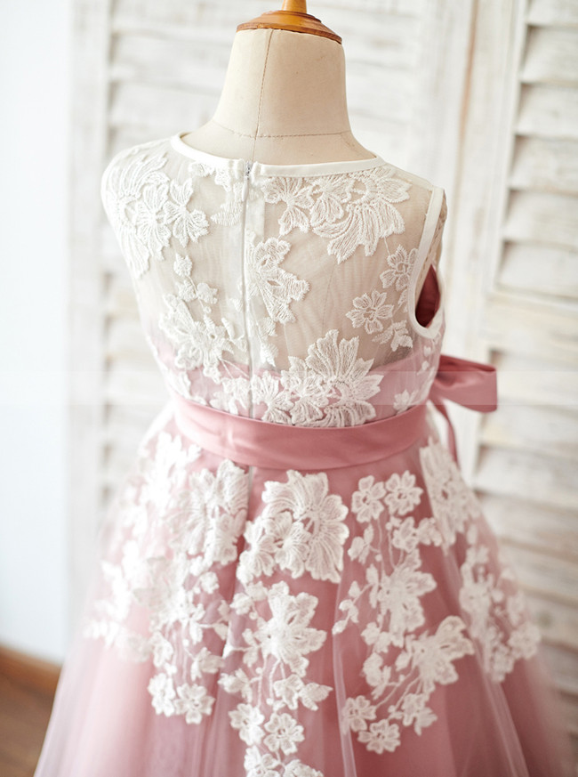 Pink Flower Girl Dresses,Tea Length Flower Girl Dress,11847