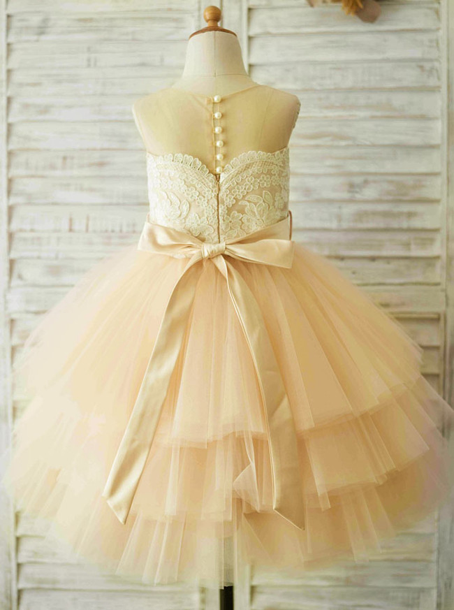 Champagne Flower Girl Dresses,Princess Birthday Party Dress,11848