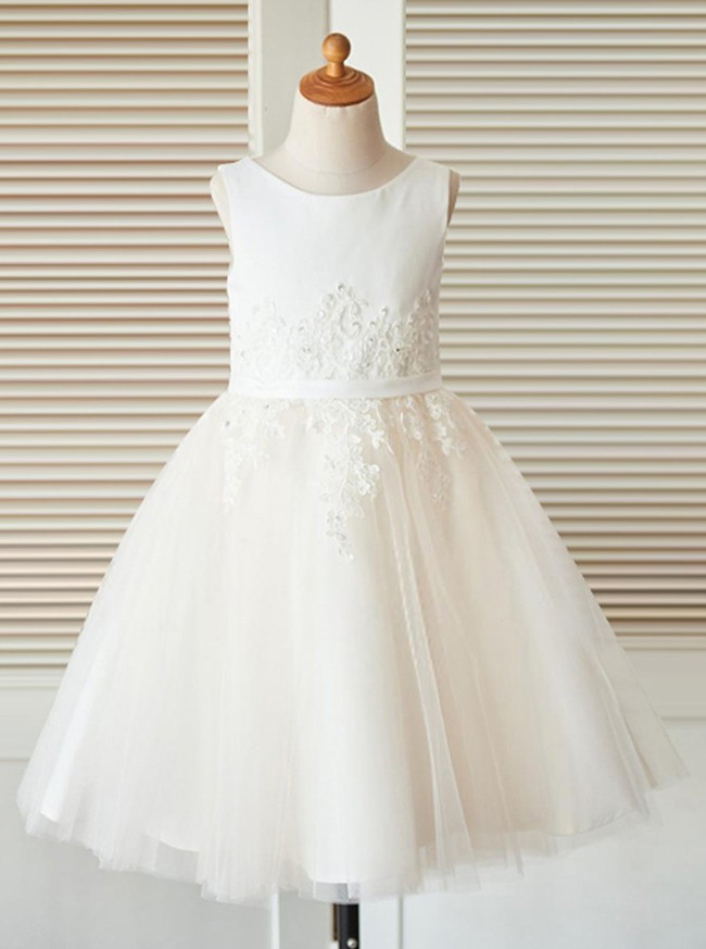 Ivory Flower Girl Dresses,Tulle Flower Girl Dress,11849