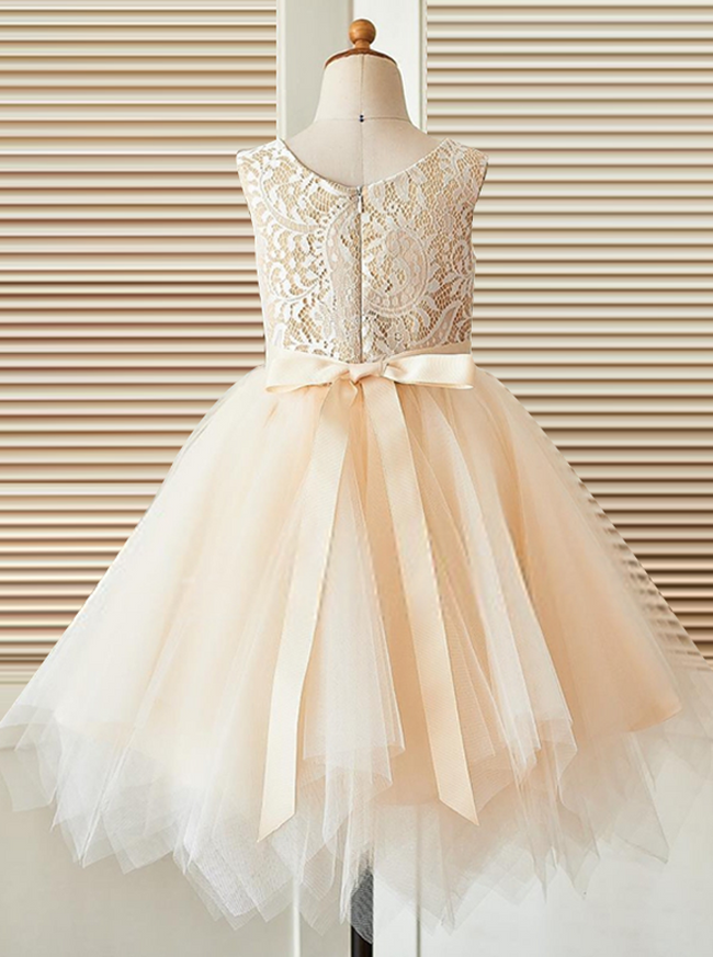 Champagne Flower Girl Dresses,Asymmetrical Flower Girl Dress,11850