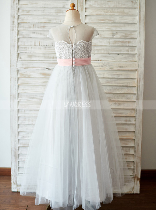 Silver Flower Girl Dresses,Floor Length Flower Girl Dress,11852