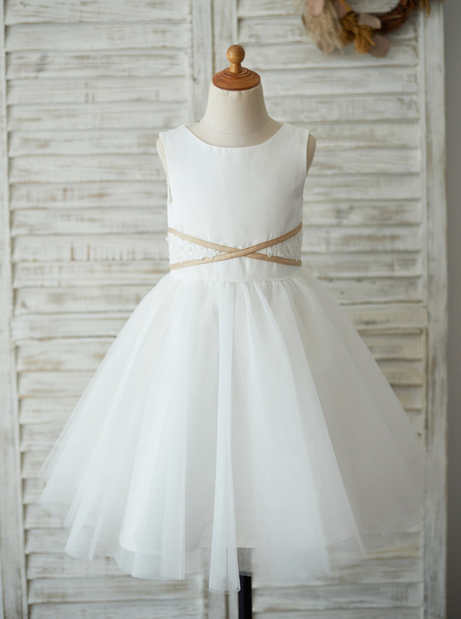 White Flower Girl Dresses,Knee Length Simple Holiday Girl Dresses,11853