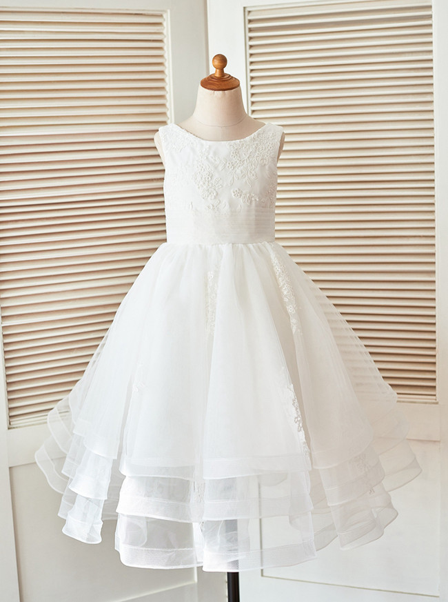 Tea Length Flower Girl Dresses,Formal Girl Party Dress,111855