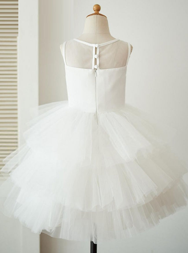 Tulle Ball Gown Flower Girl Dresses,Ruffled Girl Holiday Dress,11856