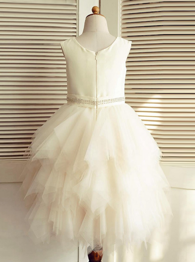 Ivory Flower Girl Dresses,Ruffled Tulle Flower Girl Dress,11859