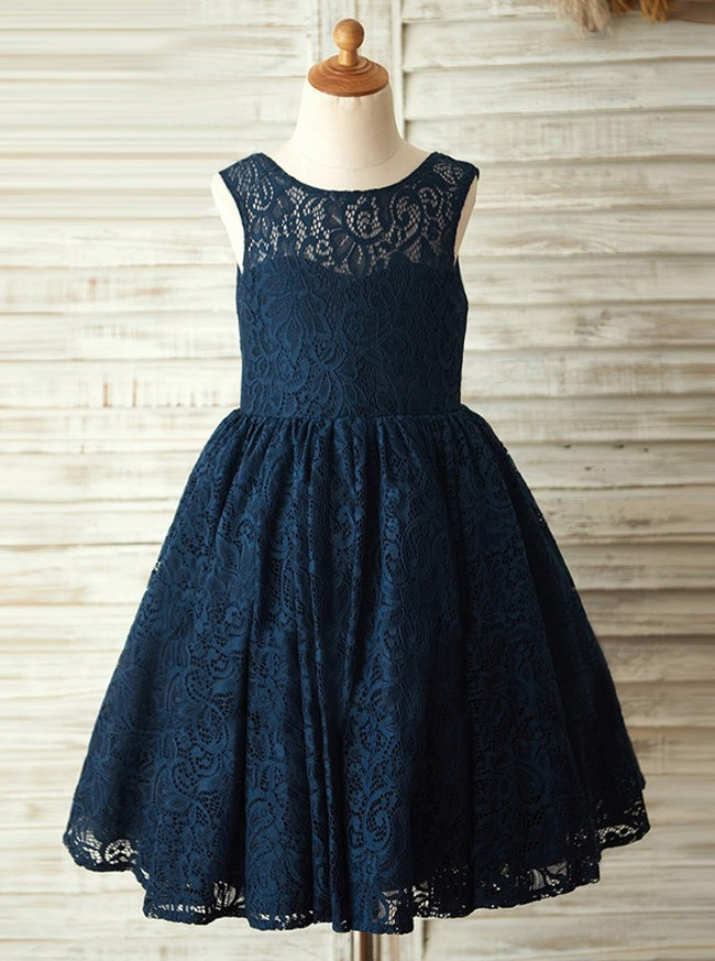 Dark Navy Flower Girl Dresses,Lace Girl Holiday Dresses,11861