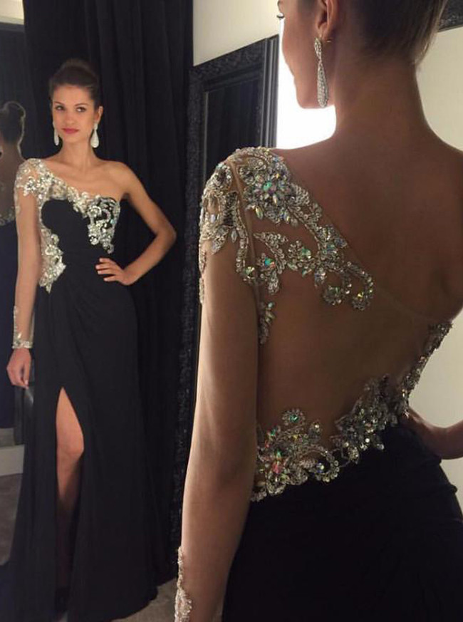 Black Evening Dresses,Formal Prom Dress with Illusion Sleeves,11863