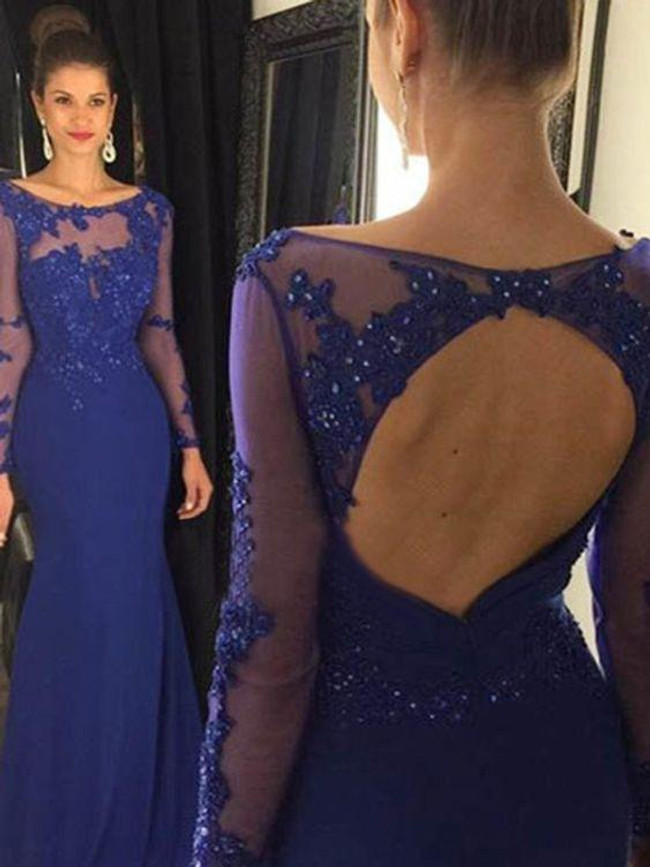Mermaid Evening Dresses with Sleeves,Royal Blue Prom Dress,11864