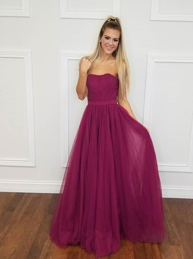 Strapless Prom Dresses for Teens,Tulle Sequined Prom Dress,11866