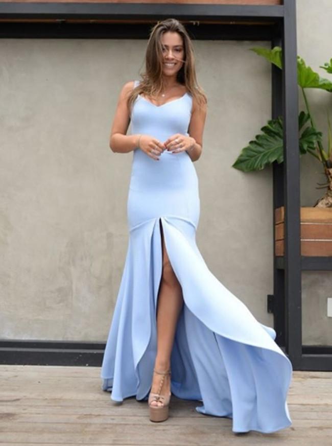 Light Blue Mermaid Prom Dresses,Simple Bridesmaid Dress,11867