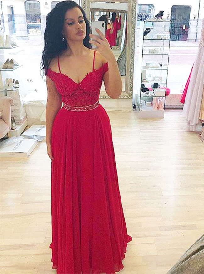 Red Prom Dresses with Straps,Elegant Prom Dress,11868