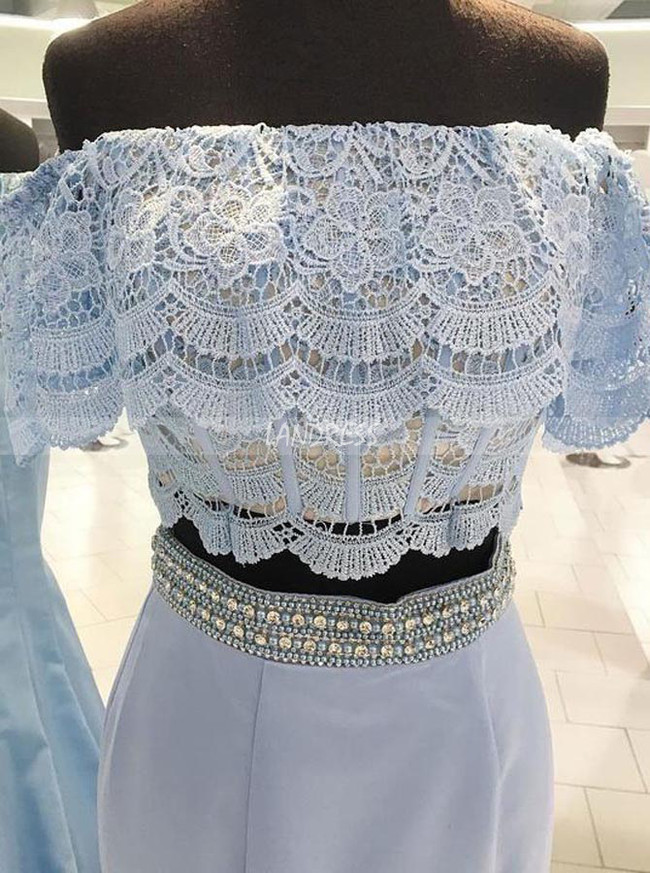 Two Piece Mermaid Prom Dresses,Satin Evening Dress,11870