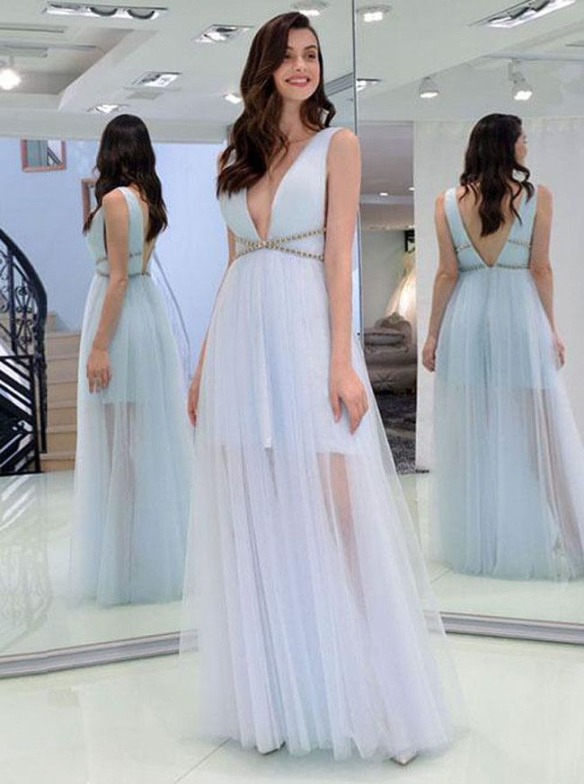 Light SkyBlue Prom Dresses,Tulle Floor Length Evening Dress,11872