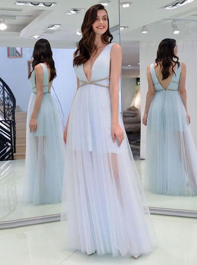 Light SkyBlue Prom Dresses,Tulle Floor Length Evening Dress,11872