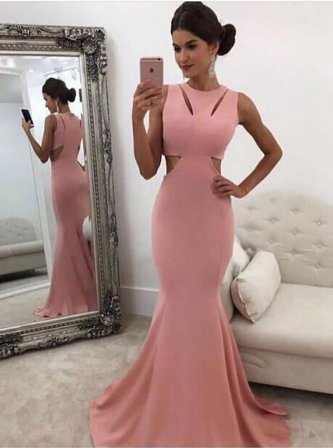 Pink Mermaid Evening Dresses,Modest Prom Dress,11875