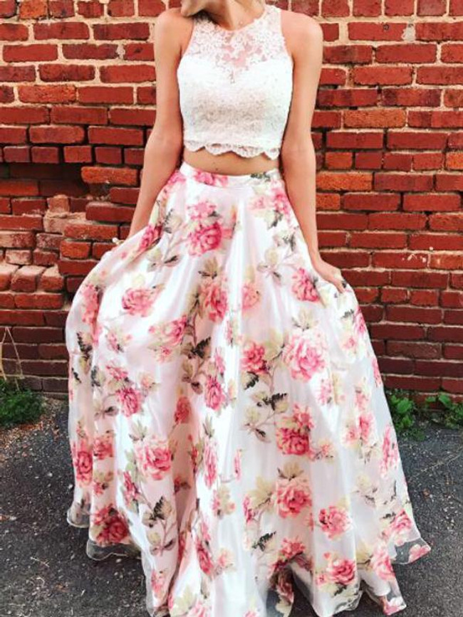 Two Piece Prom Dresses for Teens,Floral Print Prom Dress,11877