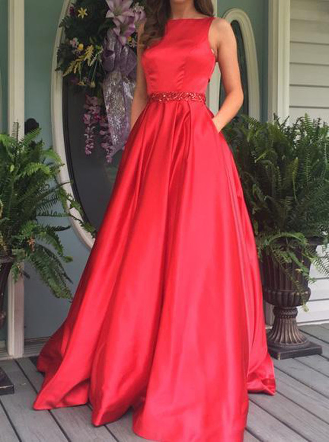 Red Modest Prom Dresses,A-line Prom Dress,11878