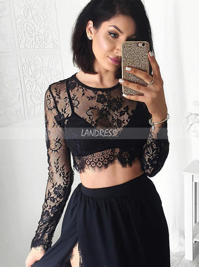 Black Two Piece Prom Dresses,Prom Dress with Long Sleeves,11879
