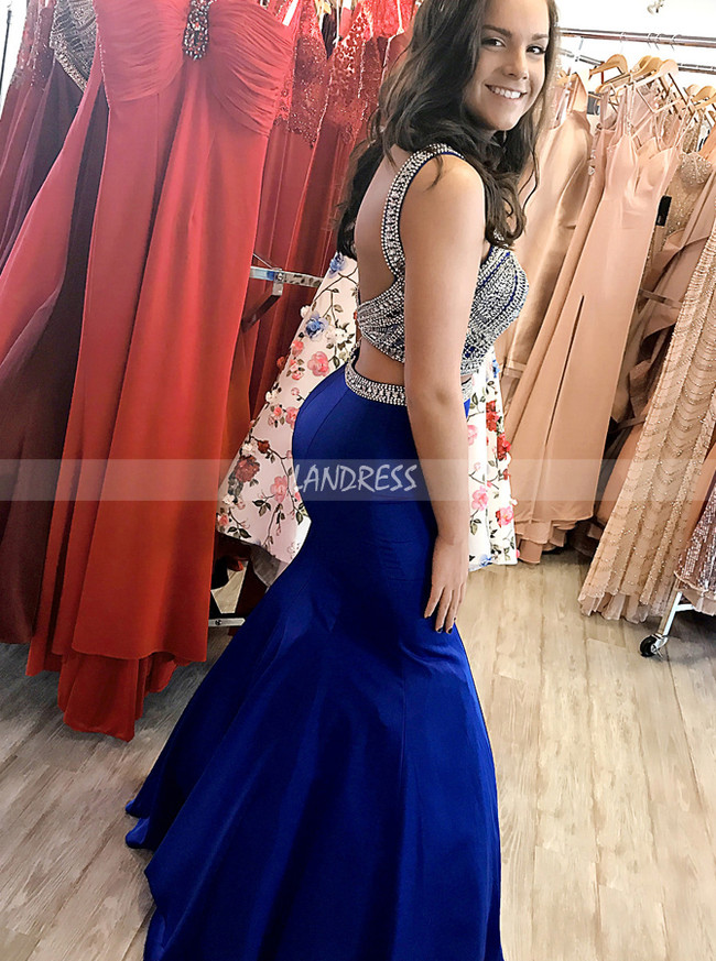 Two Piece Mermaid Prom Dress for Teens, Fitted Evening Dress,11883