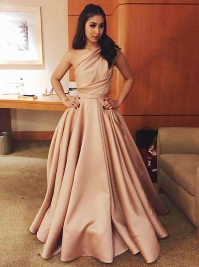 One Shoulder Prom Dress for Teens,Simple Satin Evening Dress,11884