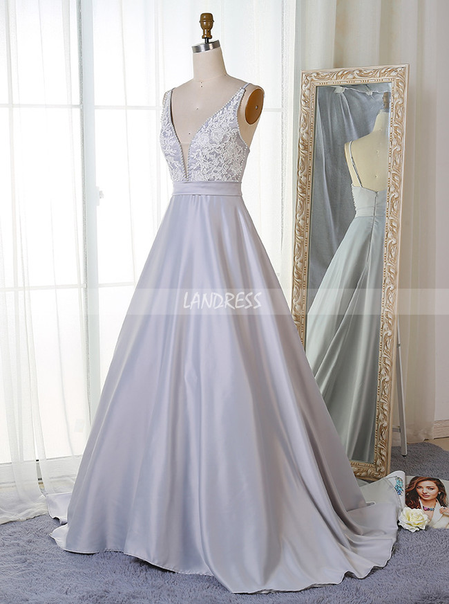Formal A-line Prom Dress,Silver Evening Dress with Train,11885