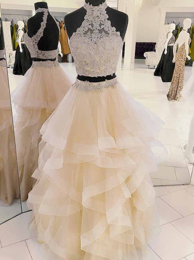 Champagne Prom Dress for Teens,Two Piece Prom Dresses,11886