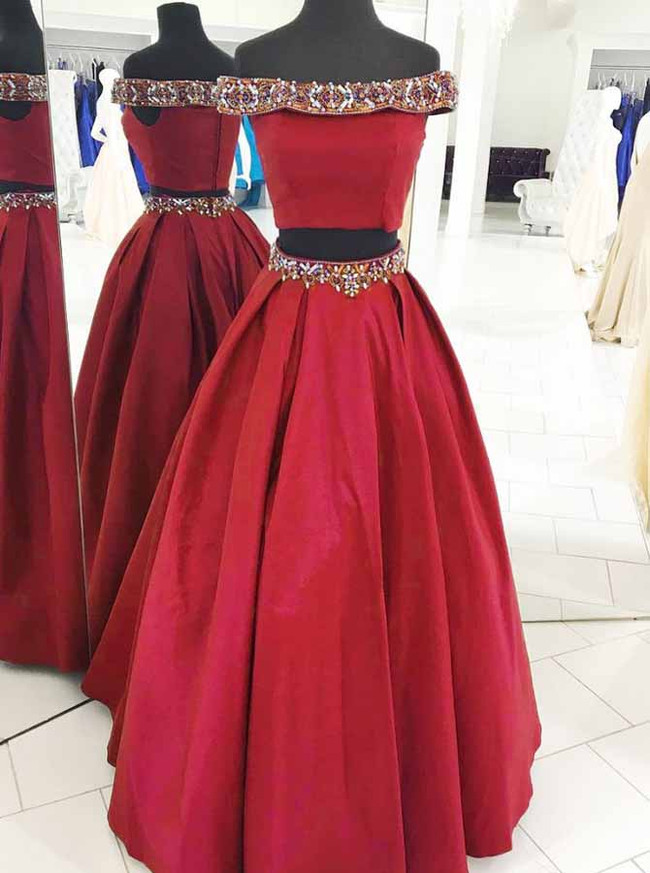 Red Two Piece Satin Prom Dresses,Off the Shoulder Prom Dress,11887