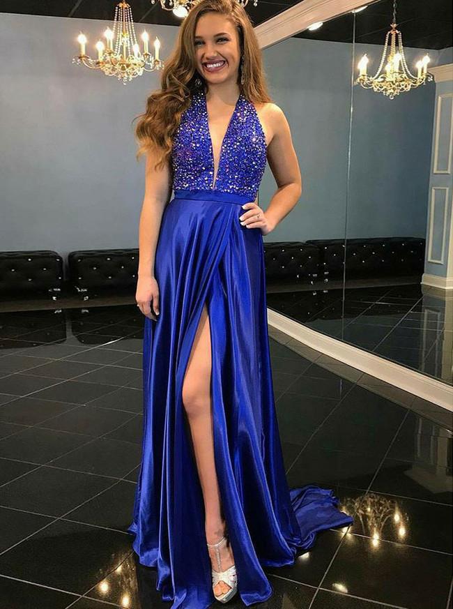 Halter Evening Dresses with Slit,Royal Blue Prom Dress,11888
