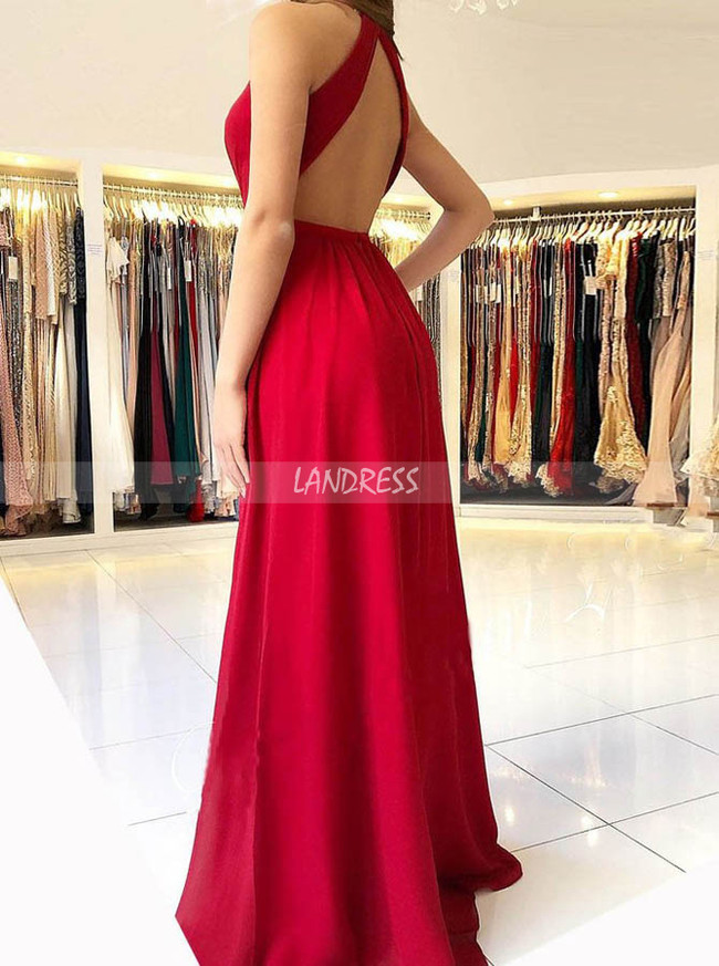 Red Chiffon Prom Dresses,Backless Modest Evening Dress,11889