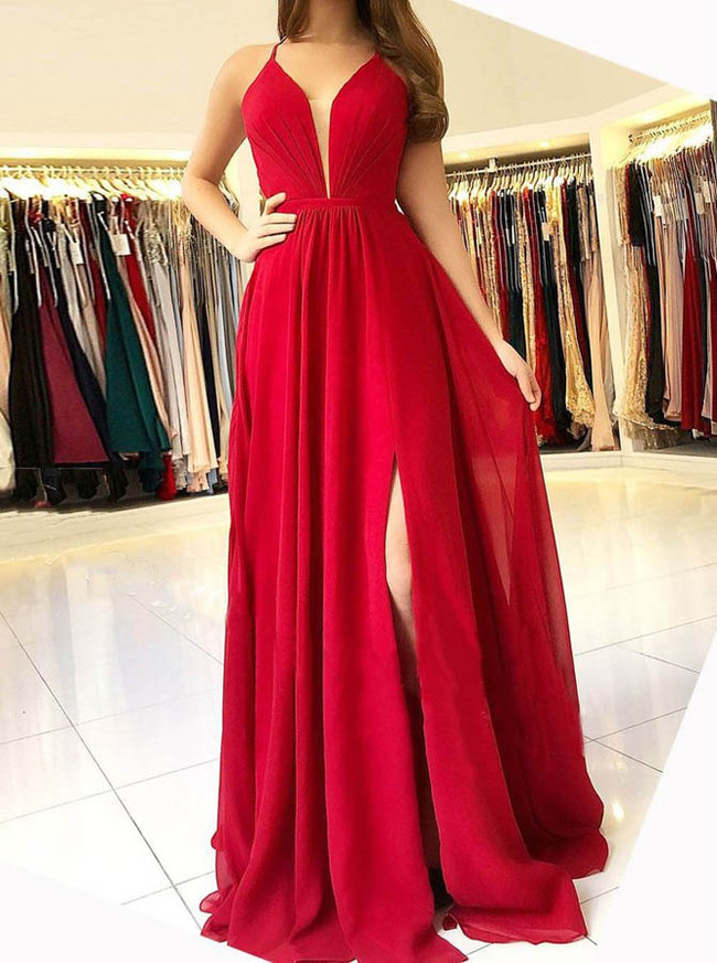 Red Chiffon Prom Dresses,Backless Modest Evening Dress,11889