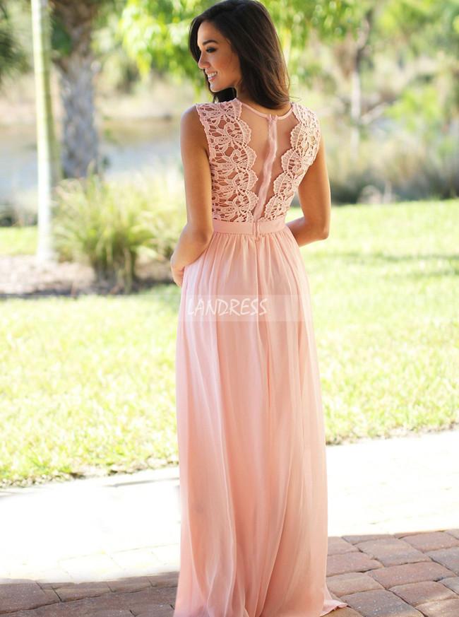 Pink Bridesmaid Dresses,Chiffon Simple Prom Dress,11891