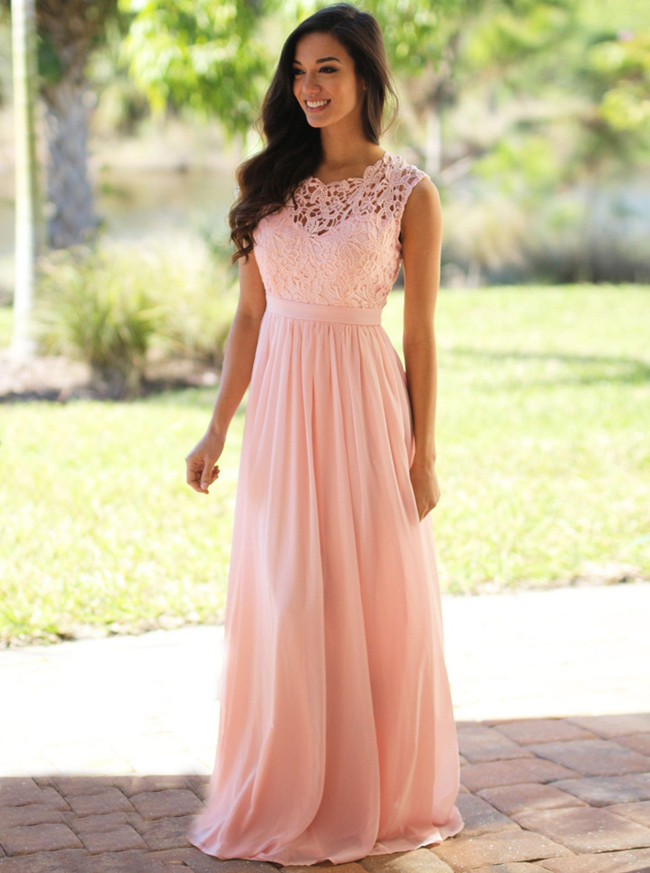 Pink Bridesmaid Dresses,Chiffon Simple Prom Dress,11891