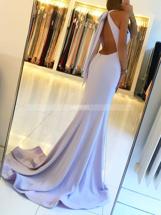 Lilac Mermaid Prom Dresses,Backless Evening Dress,11895