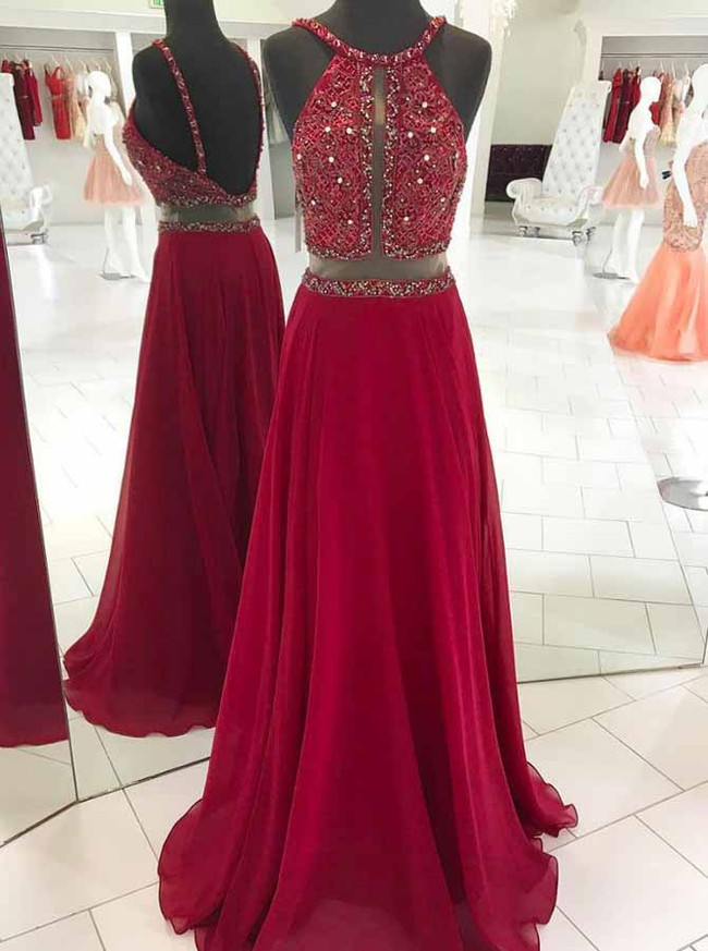 Burgundy Evening Dresses,Beaded Chiffon Prom Dress,11898