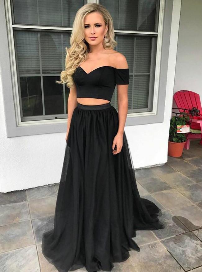 Modern Two Piece Prom Dresses,Black Simple Prom Dress,11899