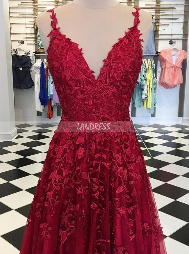 Burgundy Evening Dresses with Appliques,Elegant Prom Dress for Teens,11900